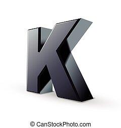 glossy black alphabet K isolated on white background