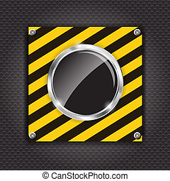 Glossy black button on a cunstruction background vector illustration