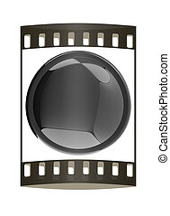Glossy black button. The film strip