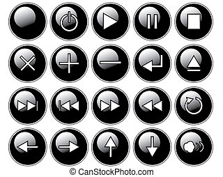 An illustration of glossy black buttons isolated on a white background. These are buttons that might be found on a remote or cd/dvd player.