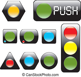 Glossy black buttons. Vector