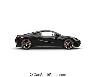 Glossy black modern super sports car - side veiw