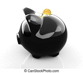 Glossy black piggybank