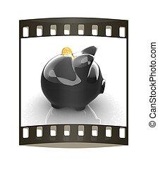 Glossy black piggybank. The film strip