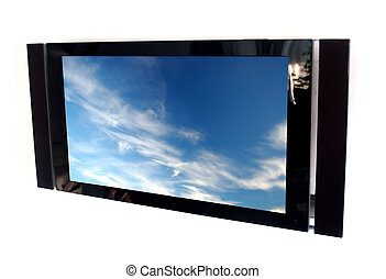 plasma tv - glossy black plasma tv screen with picture of...