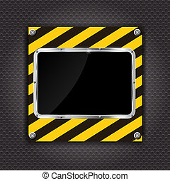 Glossy black plate on a cunstruction background vector illustration