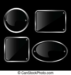 Glossy black plate set. Vector illu