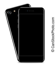 Glossy Black Smartphone on white background