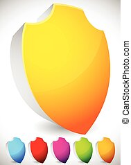 Glossy, blank 3D shield shapes. Several colors included. (Yellow, blue, red, green...)