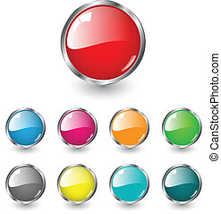 blank high glossy circle web buttons