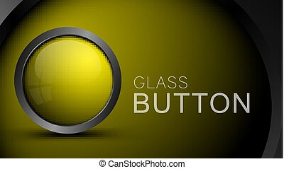 Glossy blank yellow button for web design.