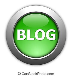 blog - glossy blog button for internet website  on white