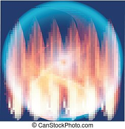 Glossy blue background with fire