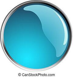 glossy blue button, balls. Vector illustration.