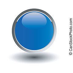 glossy blue button, balls. Vector i