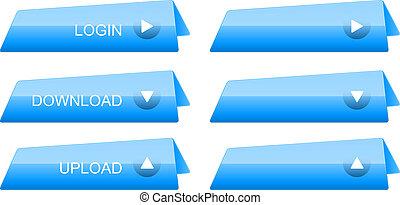 glossy blue button set