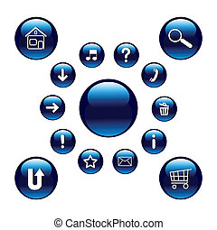 Glossy blue buttons with symbols