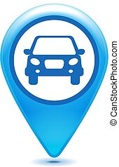 glossy blue car pointer icon on a white background