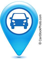glossy blue car pointer icon