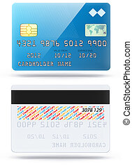 glossy blue credit card - Vector illustration of detailed...