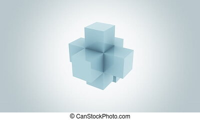 Glossy blue cubes assembling endlessly. Addition, growth and...