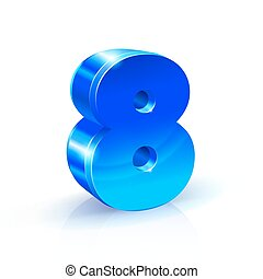 Glossy blue Eight 8 number. 3d Illustration on white background.