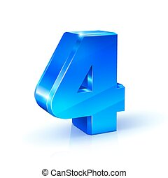 Glossy blue Four 4 number. 3d Illustration on white background.