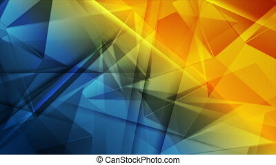 Glossy blue orange abstract low poly technology motion ...