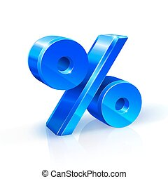 Glossy blue persent sign. 3d Illustration on white background.