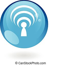 Glossy blue podcast - Glossy podcast in blue button isolated...