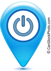 glossy blue power pointer icon