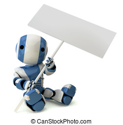 Glossy Blue Robot Holding Sign Sitting Down