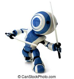 Glossy Blue Robot Ninja Holding Katanas - A glossy ninja...