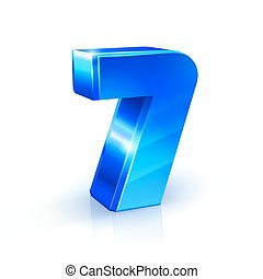 Glossy blue Seven 7 number. 3d Illustration on white background.