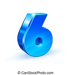 Glossy blue Six 6 number. 3d Illustration on white background.