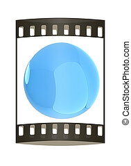 Glossy blue sphere. The film strip