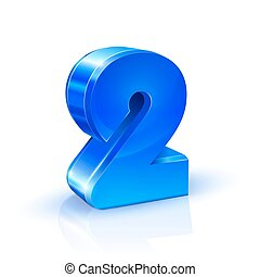 Glossy blue Two 2 number. 3d Illustration on white background.