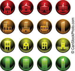 Glossy building icons - Set of sixteen simple glossy ...