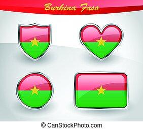 Glossy Burkina Faso flag icon set