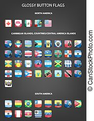 Glossy button flags - America. Original colors.