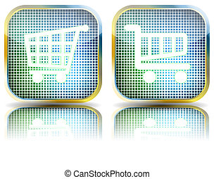 Glossy button grocery cart. Vector Illustration. EPS10