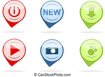 Glossy button icon set
