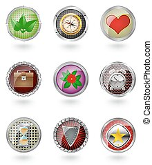 Glossy button icon set.