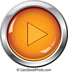 glossy button (play) - Vector - glossy button