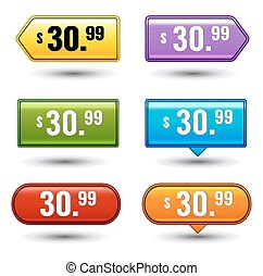 Glossy button price tags