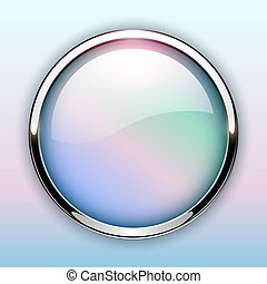 Glossy button with metallic elements