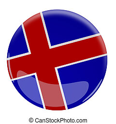 Glossy button with the flag of Iceland
