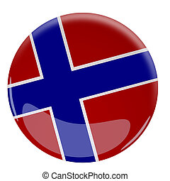 Glossy button with the flag of Norway