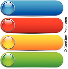 Glossy buttons, banners. Rounded rectangle shapes. Colorful...