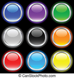 Glossy buttons. - Beautiful buttons on dark. Vector...